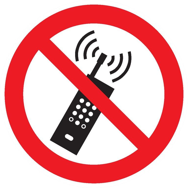 PANNEAU ROND DIAM.300MM-«TELEPHONES PORTABLES INTERDITS»