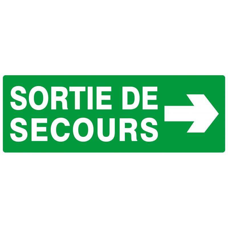 PANNEAU 330X120MM-«SORTIE DE SECOURS FLECHE A DROITE»